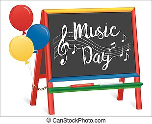 dag, schildersezel, muziek, chalkboard, kinderen
