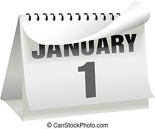 dag, sida, 1, kalender, vänder, ringla, januari, år, färsk