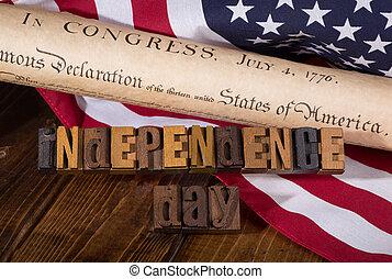 dag uafhængighed, banner, hos, den, uafhængighed erklæring, og, amerikaner flag