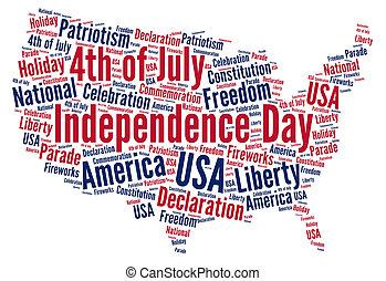 dag uafhængighed, juli 4, ind, united states, glose, sky