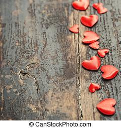 dag valentines, baggrund, hos, hjerter