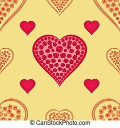 dag, valentines, textuur, hartjes