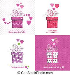 dag, valentines, verzameling, kaarten