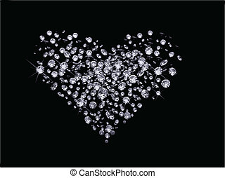 dag, valentinkort, diamanter, vektor