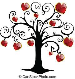 dag, valentinkort, vektor, träd