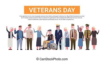 dag veteraner, fest, national, amerikaner, ferie, banner, hos, gruppe, i, afgå, militær, folk