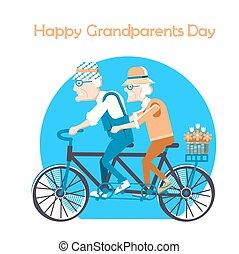 dag, vrolijke , kaart, grootouders, vakantie