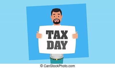 dag, zakenman, animatie, etiket, belasting