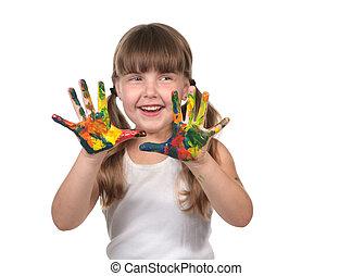 dag zorg, kind schilderstuk, met, haar, handen