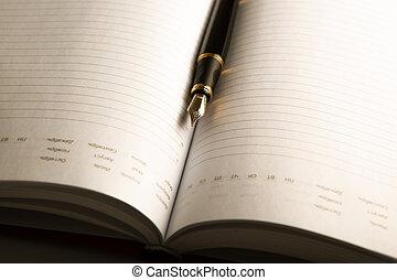 dagboek, pen, 2, fontijn