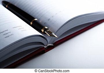 dagboek, pen, 5, fontijn