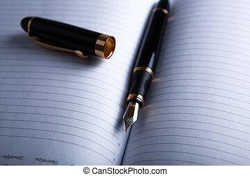dagboek, pen, fontijn, 3