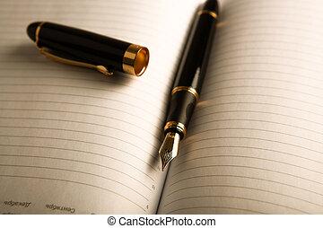 dagboek, pen, fontijn, 4