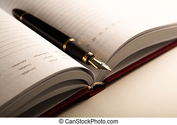 dagboek, pen, fontijn, 6