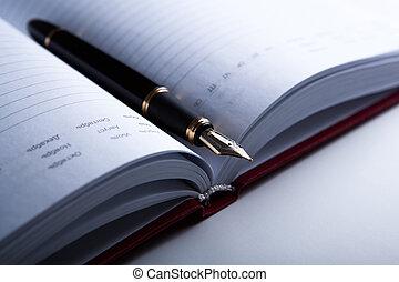 dagboek, pen, fontijn, 7