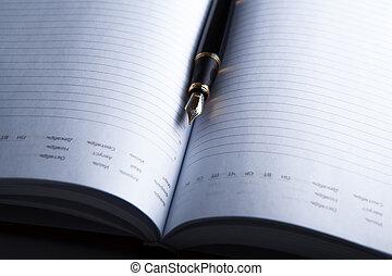 dagboek, pen, fontijn