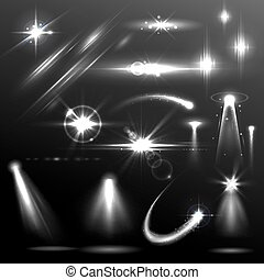 dager effektuera, element, lins, realistisk, signalljus