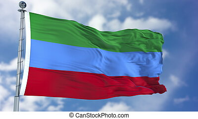 Dagestan Flag in a Blue Sky. Use this clip loud