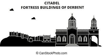 dagestan, illustration., viagem, derbent, , skyline,...