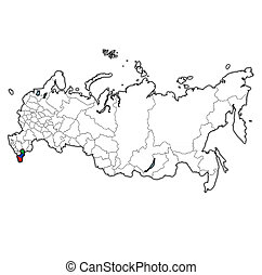 Dagestan on administration map of russia - emblem of ...