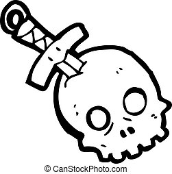 dagger in skull cartoon