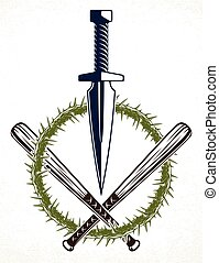 Dagger knife and other weapons vector emblem of Revolution ...