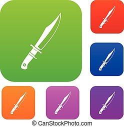 Dagger set color collection - Dagger set icon color in flat...