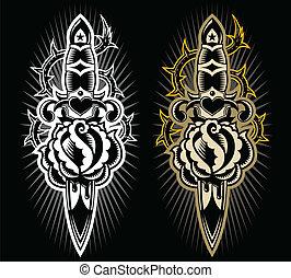 A tatto style design dagger stabbing a rose