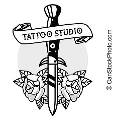 dagger with roses and ribbon tattoo studio graphic