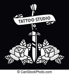 dagger with roses tattoo studio graphic