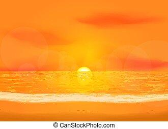 daggry, hav, stille, baggrund, udsigter