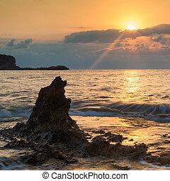 daggry, solopgang, landskab, hen, smukke, rocky, coastline, ind, middelhavet hav