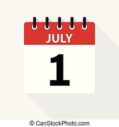 dagligen, holiday., icon., datera, kalender, tid, month., vektor, juli, lägenhet, dag