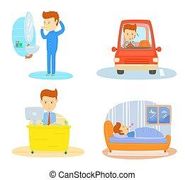 dagligen rutin, av, en, affärsman, borstning tand, in, morgon, drivande, bil, gå, till, workplace, arbete, in, kontor, sova, in, sovrum, om natten, stylized, tecknad film, tecken, affärsman, dagligen rutin