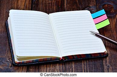 dagordning, med, penna, skrivbord