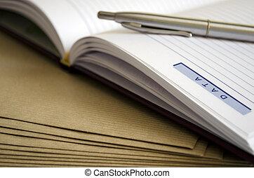 dagordning, och, penna