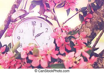 dagsljus, besparingar, vår, tid
