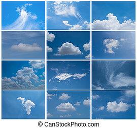 dagslys, sæt, himmel blå, samling