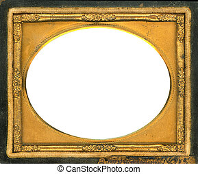 Beautiful ornate gold metal picture frame from the 1840s. This type of picture frame was used with the earliest style photos such as Daguerreotypes, Ambrotypes and Tintypes. They were in popular use from the 1840's-1860s (Victorian Era). Image contains Clipping Path for easy insertion of your own ...