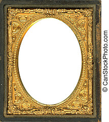 Ornate gold metal picture frame from the 1850s. This type of picture frame was used with the earliest style photos such as Daguerreotypes, Ambrotypes and Tintypes. They were in popular use from the 1840's-1860s (Victorian Era). Image contains Clipping Path for easy insertion of your own image. - ...