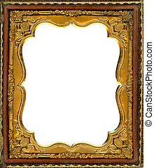 Ornate gold metal picture frame from the 1850s. This type of frame was used to house early style photos such as Daguerreotypes, ambrotypes and tintypes, in popular use from the 1840's-1860s. Image contains Clipping Path for easy insertion of your own image. Super High Resolution