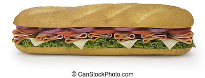 Dagwood - Large sandwich on a french roll isolated on white...