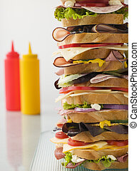 Dagwood Tower Sandwich With Sauces