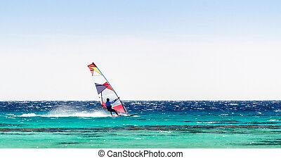 dahab, fond, ciel clair, surfeur, mer, egypt., promenades, rouges