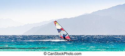 dahab, fond, egypte, côte, mer, surfeur, promenades, rouges, rocheux