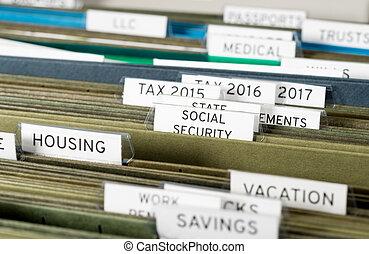 daheim, ablegenden system, für, sozialversicherung, organisiert, in, ordner