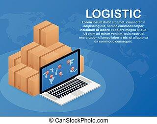 daheim, büro., infographics., auslieferung, isometrisch, stadt, illustration., vektor, logistics., logisitk