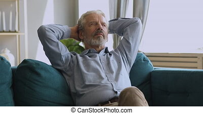 daheim, eingeschlafen, gesunde, älterer mann, gelassen,...