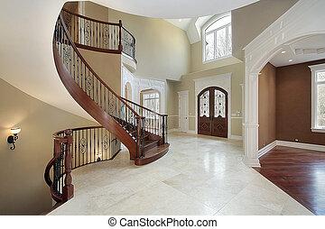 daheim, empfangshalle, luxus, treppenaufgang