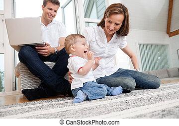 daheim, familie, glücklich